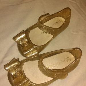 Cute Glitter Gold toddler flats